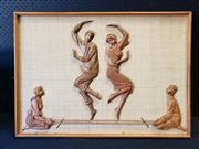 Sale 9002 - Lot 1043 - Mounted Teak Wall Art of Dancers (h:63 x 89cm)