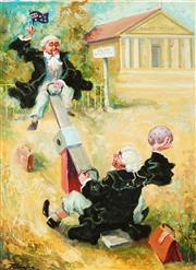 Sale 9038 - Lot 506 - Zoltan Fenyes (1924 - 1997) - Courthouse Playground 59.5 x 44 cm (frame: 68 x 53 x 4 cm )