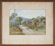 Sale 9053 - Lot 2017 - E. B. Rollason - Road on Mount Dorrigo 28 x 39 cm (frame: 52 x 60 x 3 cm)