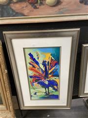 Sale 9045 - Lot 2090 - Yuval Wolfson (1966 - ), Blue Peacock, serigraph, ED. 56/90, frame: 75 x 49 cm, signed lower right -
