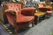 Sale 8368 - Lot 1025 - Pair of Ornate Carved Armchairs
