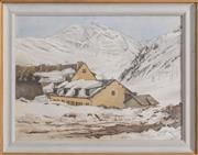 Sale 8375A - Lot 66 - Helen Baldwin - Untitled (House in Snow) 44 x 60 cm