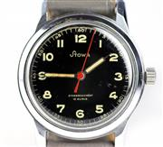 Sale 8402W - Lot 15 - STOWA WW2 FRENCH MILITARY SERVICE WRISTWATCH; black dial Arabic numerals, red center seconds, on a gilt 15 jewell movement, case sig...
