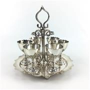 Sale 8545N - Lot 19 - Silver Plated Set of Egg Cups