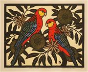 Sale 8606 - Lot 519 - Leslie V. Van Der Sluys (1939 - 2010) - Western Rosellas and Bushy Yate, 1983 31.5 x 40cm