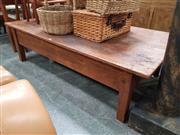 Sale 8669 - Lot 1017 - Rustic Oak Coffee Table with Drawer to End
