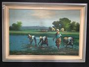 Sale 8730 - Lot 2009 - Artist Unknown - Sowing the Rice oil on canvas laid on board, 73 x 104cm (frame) signed lower right
