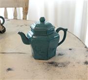 Sale 8858H - Lot 28 - Blue Chinese Yixing Glazed Teapot, H 13 x W 16.5 cm -