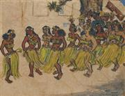 Sale 8878 - Lot 2099 - Artist Unknown (3 works) - Three Scenes from Tahiti c 1940s each 14.5 x 19.5 cm