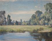 Sale 8938 - Lot 570 - Albert Henry Fullwood (1863 - 1930) - Pond, Pastures and Distant Church 42.5 x 53.5 cm