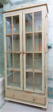 Sale 8990H - Lot 49 - A Pine and green painted glazed display cabinet with single drawer to base and shelved interior. Height 106cm x Width 87cm x Depth 34cm
