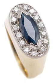 Sale 9074 - Lot 340 - AN 18CT GOLD SAPPHIRE AND DIAMOND CLUSTER RING; high oval setting centring an approx. 1.25ct navette cut blue sapphire surrounded by...