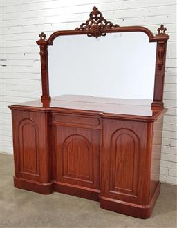 Sale 9097 - Lot 1037 - Victorian Mahogany Breakfront Sideboard, with carved mirror back, above four arched panel doors & short drawer (h192 x w156 x d57cm)...