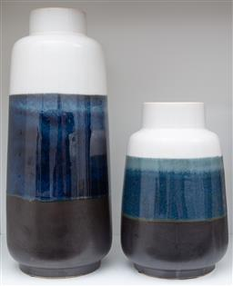 Sale 9150H - Lot 39 - A graduating pair of glazed ceramic vases with blue mid section, Height of taller 46.5cm