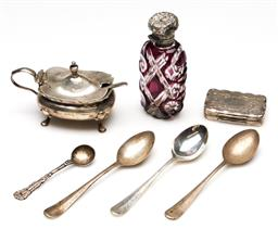 Sale 9246 - Lot 43 - A small collection of silver wares incl. scent bottle, sugar, spoons and case (H:8cm - scent bottle)