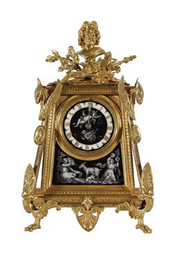 Sale 9245J - Lot 53 - A good quality French 19th century gilt bronze salon clock, with hand painted porcelain panels depicting winged cherubs and figured ...
