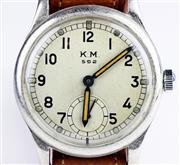 Sale 8402W - Lot 16 - A WWII MILITARY NAVY SERVICE WRISTWATCH; cream dial signed KM 595 with Arabic numerals, subsidiary seconds on an Alpina 15 jewell ca...