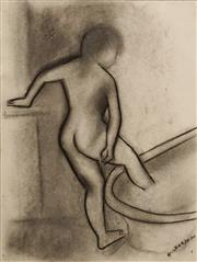 Sale 8606 - Lot 545 - Robert Dickerson (1924 - 2015) - Figure in Bath 36.5 x 27.5cm