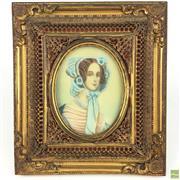 Sale 8649R - Lot 54 - Gilt Bronze Framed Miniature (H: 16cm)