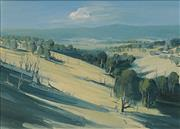 Sale 8652 - Lot 529 - Sydney Mather (1944 - ) - Looking towards the Dandenongs from near Gembrook, Victoria 54.5 x 75cm