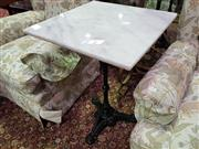 Sale 8657 - Lot 1062 - Square White Waterproofed Marble Top Table on Cast Iron Base (50cm)