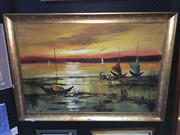 Sale 8776 - Lot 2063 - J. Cabisada - Fishing Boats High & Dry, Oil, SLL 60x91cm -