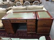 Sale 8817 - Lot 1030 - Timber Desk With Leather Top With Nine Drawers & Matching Chest Of Two Drawers