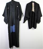 Sale 8963 - Lot 95 - Vintage Black Silk Kimono and Haori with blue and grey and cherry blossom silk linings