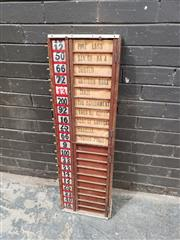Sale 8984 - Lot 1024 - Vintage Timber Tote Board with 20 Runner Options. (H:103 x W:31cm)