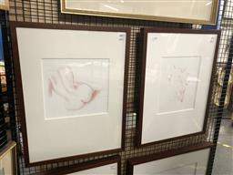 Sale 9147 - Lot 2051 - Peter Hickey Nude Study III & IV  conte on paper 61x 46cm (frames) signed -