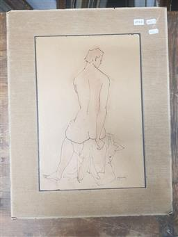 Sale 9152 - Lot 2057I - Maximillian Feuerring  Seated Nude ink and pastel, 53 x 41cm (frame) signed -