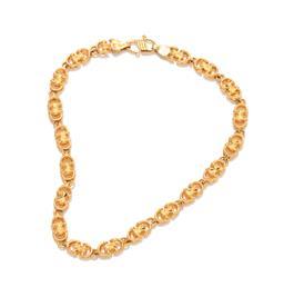 Sale 9246J - Lot 397 - A 22CT GOLD BRACELET;  4.3mm wide fancy links to an S clasp, length 17.5cm, wt. 8.41g.