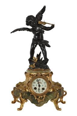 Sale 9245J - Lot 54 - A French 19th century onyx base salon clock, with spelter winged cherub musician decoration, H 52cm x W 30cm.