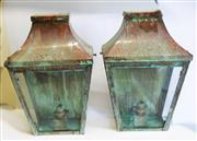 Sale 8312A - Lot 97 - A pair of well weathered all copper wall lanterns, size 42 x 26 x 13 cm