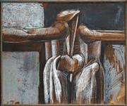 Sale 8427 - Lot 536 - Martin Sharp (1942 - 2013) - Crucifixion, 1963 76.5 x 91cm