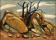 Sale 8633 - Lot 501 - Phil Davey (1949 - ) - Burnt Trees 45 x 55cm