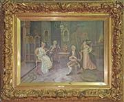 Sale 8666 - Lot 1097A - L. Doret A Musical Afternoon oil on canvas, signed lower right, in old moulded gilt frame. Probably a companion painting sold Go...