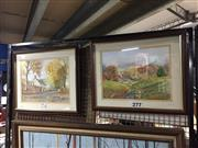 Sale 8730 - Lot 2090 - M. Gamble (2 works): Country Scenes watercolours, 43 x 52cm, signed and dated lower right -