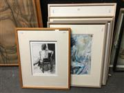Sale 8726 - Lot 2064 - Val Landa (1940 -) (5 works), Nude Studys, acyrlic on paper (3); charcoal (1); ink on paper (1), framed and various sizes