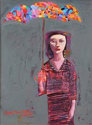 Sale 8755 - Lot 581 - Constantine Popov (1965 - ) - Harlequin Umbrella 44.5 x 34.5cm