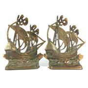 Sale 8795K - Lot 270 - A pair of brass sailing ships