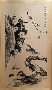 Sale 8994 - Lot 66 - Chinese Scroll of Birds and Flowers, Ink and Colour on Paper