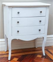 Sale 8990H - Lot 76 - A pair of French style white painted three drawer bedside tables.