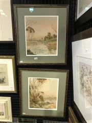 Sale 8990 - Lot 2046 - Jan de Leener Australian Bush Scenes watercolour, each 45 x 41cm (frames) and signed