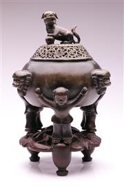 Sale 9081 - Lot 42 - A Bronze Chinese Lidded Censer on Wooden Stand (H 40cm)