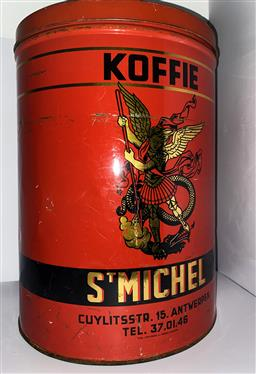 Sale 9142A - Lot 5028 - Large Belgian Coffee/Koffee Tin - St Michel, 45 cm high x 32 cm diam