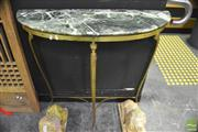 Sale 8368 - Lot 1001 - Marble Top Demi Lune Hall Table on Brass Base