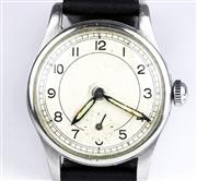 Sale 8402W - Lot 17 - A VINTAGE STAINLESS STEEL GENTS WRISTWATCH; unsigned dial with Arabic numerals, subsidiary seconds on a 15 jewell movement signed 59...
