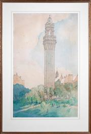 Sale 8427 - Lot 597 - John D Moore (XX) - Bell Tower, 1925 91 x 57.5cm