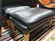 Sale 8435 - Lot 1066 - Wikkelso V11 Pair of Foot stools in Black Leather for Great Dane
